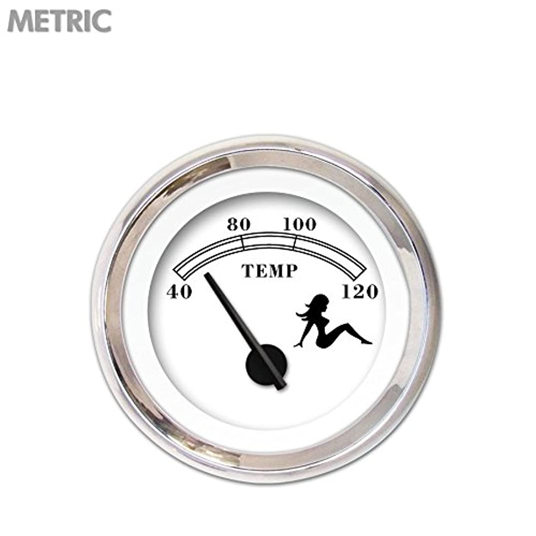 Aurora Instruments 5186 Mudflap White Metric Water Temperature Gauge (Black Text, Black Modern Needles, Chrome Trim Rings, Style Kit Installed)