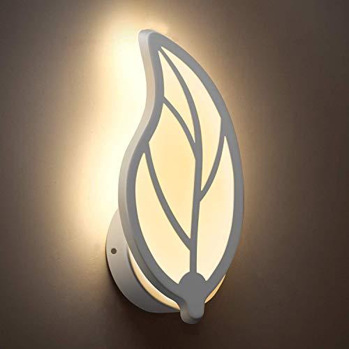 Lámpara LED de pared, aplique en forma de hoja, diseño moderno de metal y acrílico, dormitorio, pasillo, salón, potencia 7 W (luz cálida)
