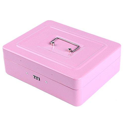 Mitte Cash Eisen Safe mit Zahlenschloss und Fach Tablett passt für Währung Münzen Rechnungen Checks, rosa