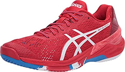 ASICS Men's Sky Elite FF Volleyball Shoes, 6.5M, Classic Red/White