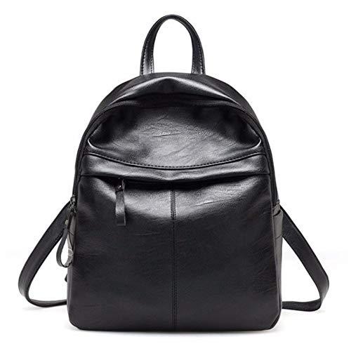 T-ara el Mochila Mochila Mochila de Cuero Mochila con Cremallera Bolsa de Cremallera Disminatoria Dillaf's Travel Bag Imprescindible para el Senderismo (Color : Black, Size : 30 * 25 * 12cm)