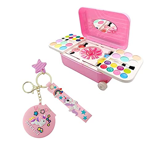 VikriDa Girl's Cosmetic and Real Makeup Palette with Unicorn Pocket Mirror Keychain and Keyring for Kids ( Multicolor )
