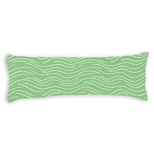 Promini Funda de almohada de color verde y blanco con diseño de rayas onduladas y garabatos con cierre de cremallera oculta para sofá, banco, cama, decoración del hogar, 50,8 x 137,2 cm