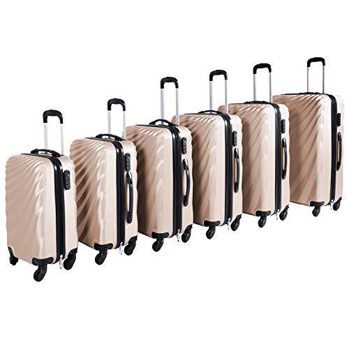 Großes 6-TLG Hartschalen Kofferset Reisekofferset Reiseset Trolley Trolly Reise Set Koffer inkl. Kofferwaage, Farben:Gold