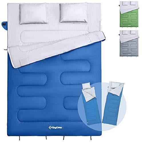 KingCamp Deckenschlafsack Schlafsack Doppelschlafsack Winter Erwachsene mit Kissen für 2 Personen und Tragetasche, Angenehme Temperatur für Outdoor Camping