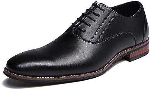CHENDX Schuhe, Herren Casual Gewachste Spitze Business Oxford Britischen Stil Niedrige Formale Schuhe (Farbe   Schwarz Größe   45 EU)