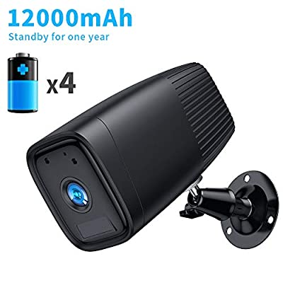SDETER Wireless Battery Camera, 1080P WiFi IP Home Security CCTV Weatherproof System, Night Vision Motion Detection 12000mAh Rechargeable Battery Built-in for Outdoor Indoor
