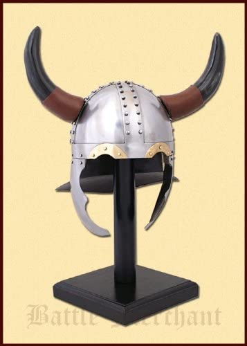 Viking Warrior Helmet with Real Horns - Medieval Costume - One Taille Fits Most - Metallic