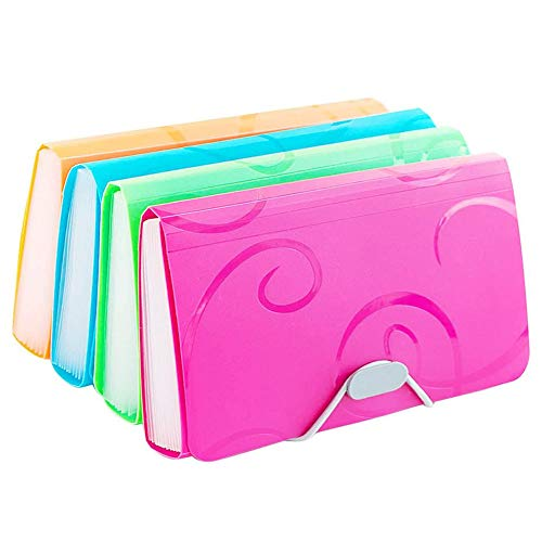 Ofilon Expanding File Folder, Pack of 2, 10 x 5 Inches, 13 Pocket Document File Folder with Tabs and Bungee Closure - Mini PP Wallet Organizer for Bills, Receipts, Coupons, Checks, Cards, Random Color