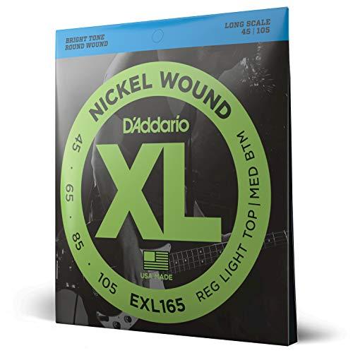 D'Addario EXL165 - Juego de cuerdas para bajo eléctrico de níquel, .045...