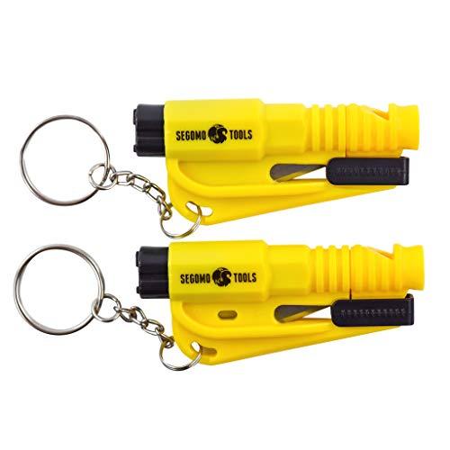 Segomo Tools 2 x Keychain Emergency Car Escape Tool Window Glass Breaker and Seatbelt Cutter - EHKR2