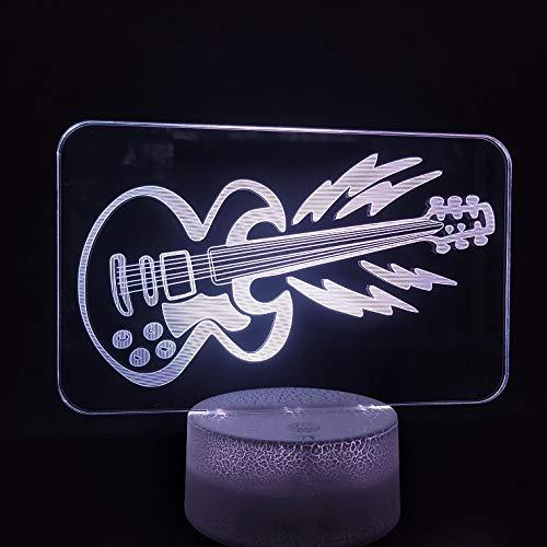 Mooi geschenk De lamp van de gitaar 3D voor de decoratie van de muzikantenslaapkamer leidde het nachtlampje etc, het decoratieve verlichtingsfeestdagsgeschenk opladt