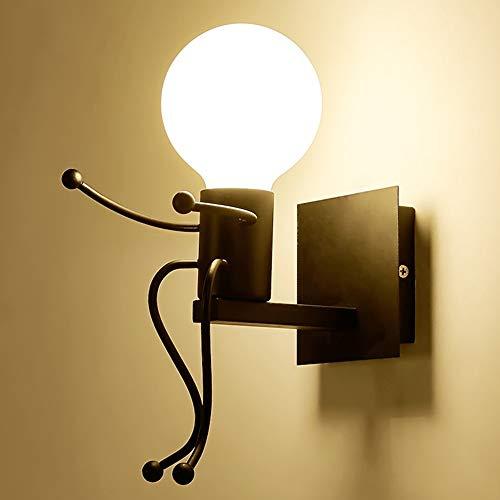 Humanoid Creativo Vintage Lampada da Parete Industriale LED Retro Applique da Parete Lampada a Muro Supporto in Ferro Art Deco E27 per Bar,Camera da Letto,Cucina,Ristorante,caffè,Corridoio(Nero)