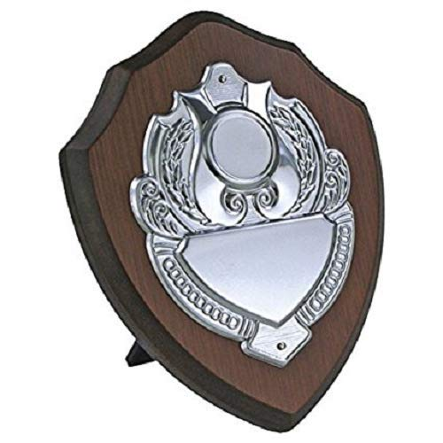 """FREE POSTAGE 6/""""  WOODEN TROPHY SHIELD FISHING CRICKET FREE ENGRAVING GOLF"""