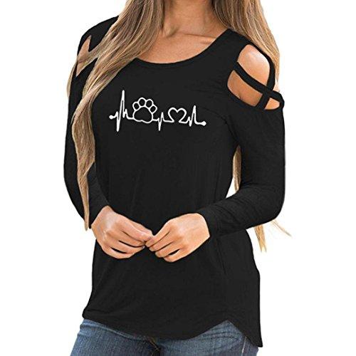 MORCHAN❤Tee-Shirt à Manches Longues à Bretelles imprimées décontractées à Manches Longues pour Femmes(FR-46 / CN-2XL,Noir)