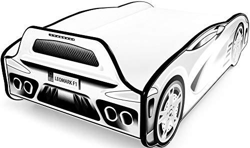 Leomark Individual Cama Infantil de Madera - Sport Car - Color Black & White, con somier, colchón, para niños, Funcional Dormitorio, Espacio para Dormir: 140/70 cm