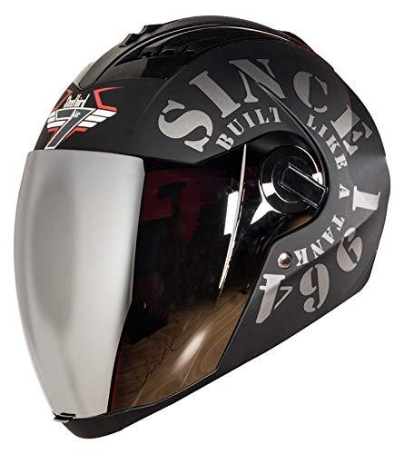Steelbird SBA-2 TANK Full Face Helmet in Matt Finish Helmet Fitted with Clear Visor and Extra Silver Visor (Large 600 MM, Black/Grey)