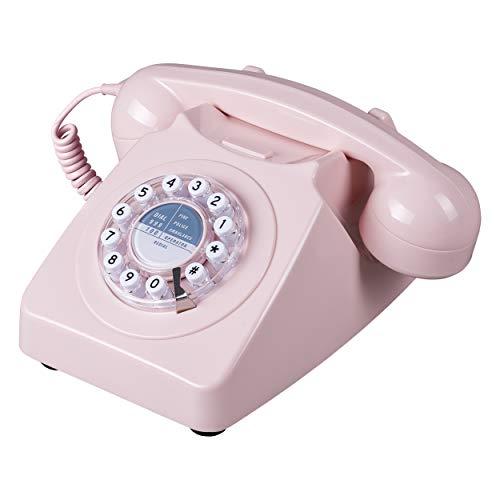 Wild Wood 746 Rotary Design Retro Landline Telephone Dusty Pink