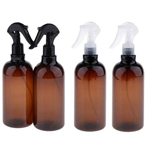 Backbayia 4pcs 500ml Bouteille de Pompe Liquide Vide Verre Pot de Huile Essentielle Pour Cosmetique