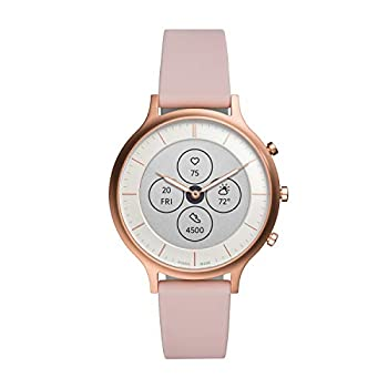 Fossil Women s 42mm Charter Stainless Steel and Silicone Hybrid HR Smart Watch Color  Rose Gold Pink  Model  FTW7013