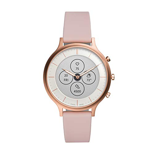 Fossil Women's 42MM Charter HR Heart Rate Stainless Steel and Silicone...