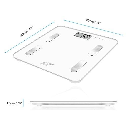 Active Era™ – Báscula de baño ultrafina para medir la grasa corporal. Analizador con% de grasa corporal, IMC, edad, peso y altura (blanco)