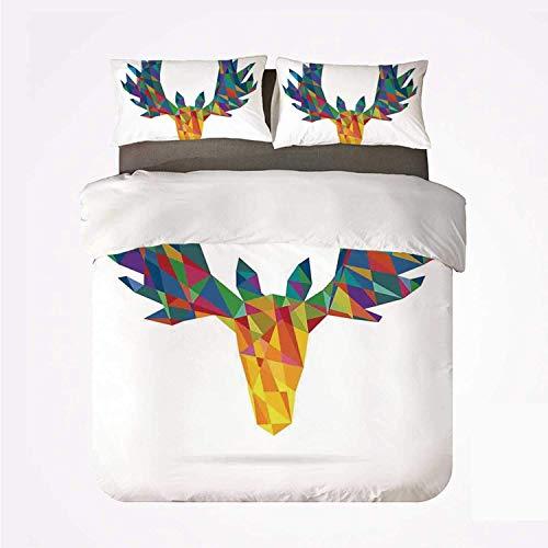 Miwaimao Bedding Bettwäsche-Set,Geweih Dekor Hirschkopf Modern Design Trophy Geometrisches Glashorn Wildlife Art,Mikrofaser Bettbezug und Kissenbezug - (200 x 200 cm)