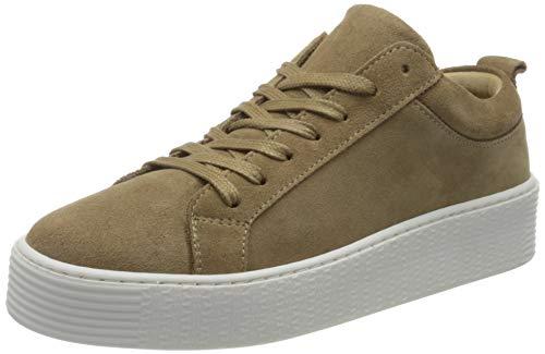 VERO MODA Womens VMKELLA Leather Sneaker, Sepia Tint, 37 EU