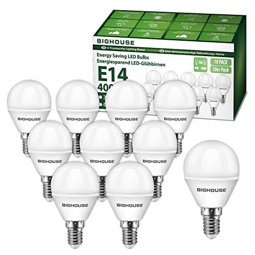 E14 LED Lampe P45, 5W 400 Lumen 3000 Kelvin Warmweiß Ersatz für 40W Halogenlampen, 270° Abstrahlwinkel, Tropfenform, CRI>80, 220-240V AC, 10 Stück