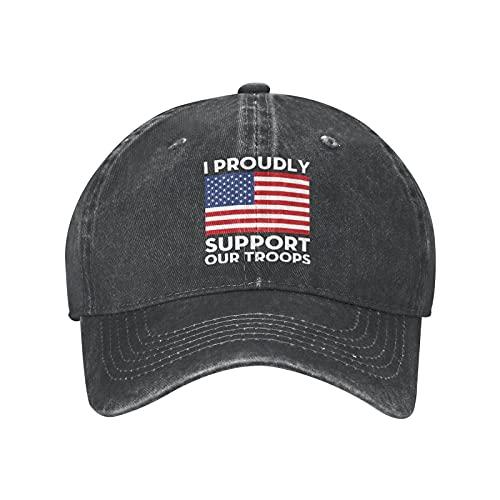 Jopath I orgullosamente Support Our Troops Unisex Sombreros, Gorra de béisbol suave, ajustable, lavable, Negro, Talla única