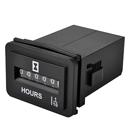 Jayron JR-HM001DC 6-50V Medidor de horas mecánico a presión para equipos con alimentación de CC, tales como elevadores de horquilla, carritos de golf, equipo de cuidado del