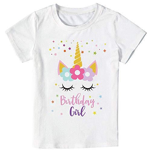Unicorn Birthday Star T-Shirt, Unicorn Outfit Gifts for Girls (Star Unicorn, 7-8 Years)