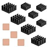 12 pcs Raspberry Pi Heatsink Cooler Circuit Board Cooling Kit,Fin for Cooling Cooler Raspberry Pi 3, Pi 2, Pi Model B+, with 3M 8810 Heat Transfer Peel and Stick Tape (4 Sets (12pcs))