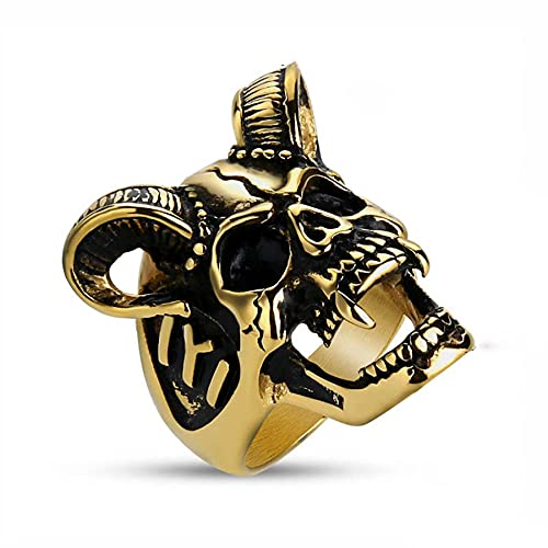 Anillo de cabra de cuerno fresco para hombre, anillo de calavera zombie de motorista de motocicleta de acero inoxidable para hombre, joyería de oro 10