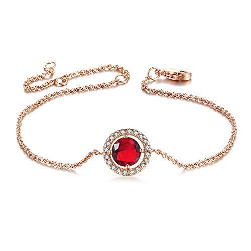 Pulsera magnética de las mujeres Pulsera con incrustaciones de circón brazalete de cristal mujeres Micro elegante pulsera desgaste diario diseño pulsera de cristal ( Color : Red , Size : 16cm+4.5cm )