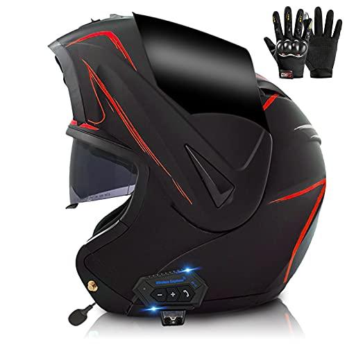 ZPTTBD Casco de Moto Modular Bluetooth Integrado con Doble Visera Anti Niebla Cascos de Motocicleta para Adultos Hombres Mujeres, Certificacion ECE/Dot (Color : A, Size : (XL/61-62CM))