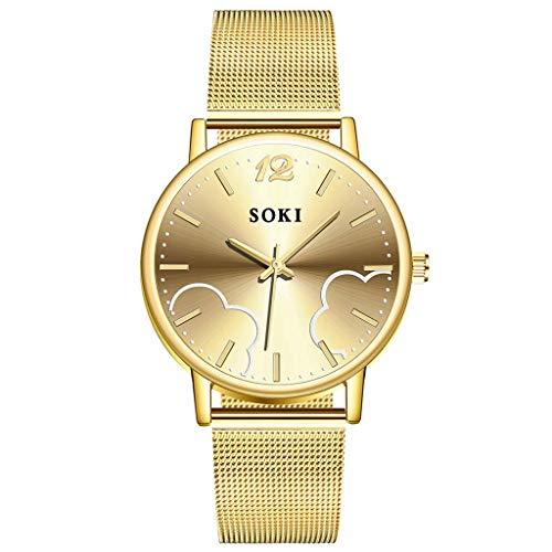 UINGKID Damen Armbanduhr Analog Quarz Casual Edelstahl Mesh Belt Watch Einfache Zifferblatt Quarz Uhr