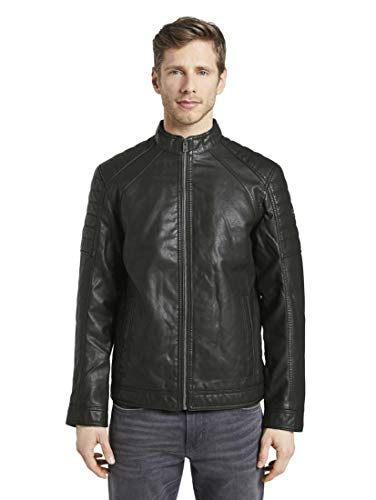 TOM TAILOR Herren Jacken & Jackets Bikerjacke aus Lederimitat Black,L