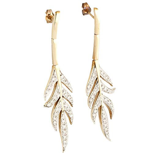 Women's 9Carat Yellow Gold 0.40ct Diamond Leaf Drop Earrings (14x53mm) | The Perfect Gift For A Special Lady | Jollys Jewellers