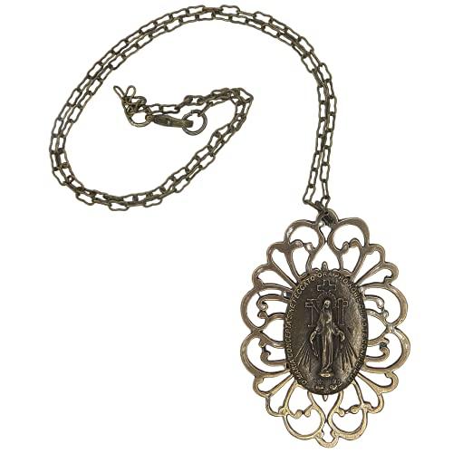 Vintage Style Miraculous Mary Bronze Pendant Chain Necklace, Medalla De La Virgen Milagrosa Religious Jewelry Gift for Catholic Women, 4 Inch Pendant