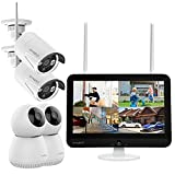 """[8CH LCD PTZ Camera Kit] XMARTO 2K HD All in One Wireless Security Camera Outdoor System with 12"""" LCD Monitor and 4X Wireless Home Security Cameras (8CH NVR, 2 Indoor PTZ & 2 Outdoor Audio Cameras)"""