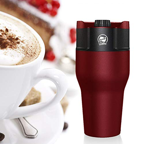 Cafetière à expresso portable USB 550 ml en acier inoxydable Tasse à café de voyage Compatible avec café moulu, dosette de café, capsule de café Rouge