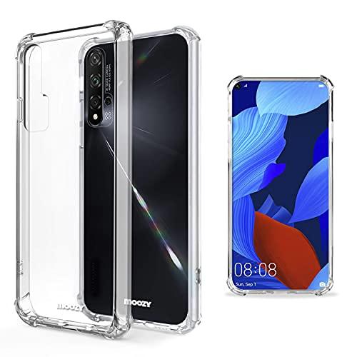 Moozy Transparent Silikon Hülle für Huawei Nova 5T & Honor 20 - Stoßfest Klar TPU Hülle Handyhülle Schutzhülle