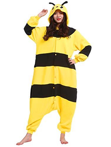 Jumpsuit Onesie Tier Karton Fasching Halloween Kostüm Sleepsuit Cosplay Overall Pyjama Schlafanzug Erwachsene Unisex Lounge, Gelb Biene, Erwachsene Größe XL -für Höhe 178-187CM