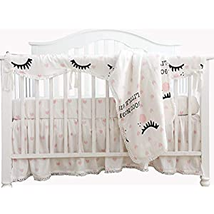 Sahaler Baby Crib Bedding Set for Girls Boys | 3 Pieces Set of Solid Nursery Bedding | Baby Blanket, Fitted Crib Sheets & Skirt – Love