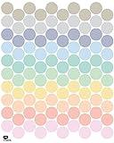 Tresxics Adhesivo de Pared Círculo, Vinilo, Pastel, 40x32x3 cm, 100 Unidades