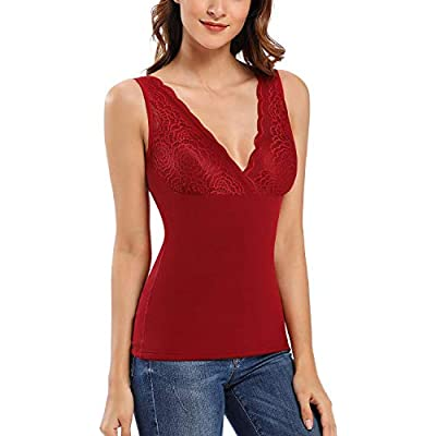 Thermal Underwear for Women Fleece Lined Lace Cami Tank Top V Neck Sleeveless Shirts (Red, 2XL)