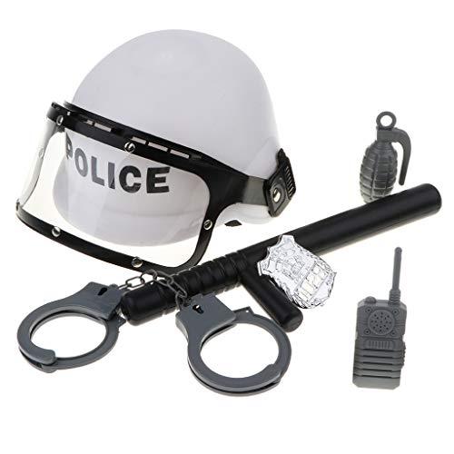 Sharplace Juguete de Disfraces de Policía con Gorro Casco, Esposas, Walkie-Talkie y Barra, Juego de rol para Niños