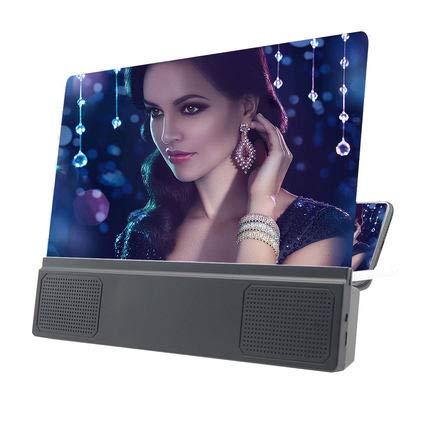 RHSMW Handyhalter Halterung Mobil Projektionsleinwand Mobiltelefon Verstärker HD Einstellbar Lautsprecher Bildschirmvergrößerung,Schwarz