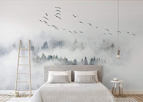 Fototapete 3D Tapete Skandinavische Vögel Und Kiefern Wolken Und Nebel - Wand Im Hintergrund 3D Effekt Vliestapete Wandbilder Wanddeko